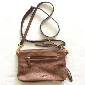 Brown vegan leather crossbody purse